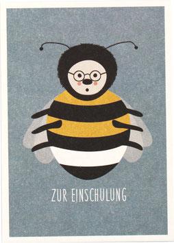 """Postkarte Hummel mit Brille, blau - Zur Einschulung"""""""