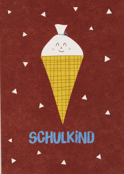 "Postkarte Schultüte, rot - ""Schulkind"""