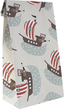Geschenkpapier-Tüten Piratenschiffe (Set mit 6 Stück)