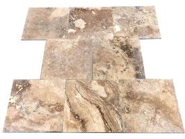 Fliese Travertin Walnut, 45,7 x 45,7 x 1,5 cm, gespachelt & geschliffen, m²