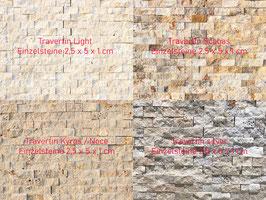 Mauerverblender (innen), Travertin, versch. Farben, bruchrau, pro Netz 30 x 30 cm