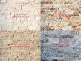 Mauerverblender (innen), Travertin, versch. Farben, bruchrau, pro Netz 60 x 15 cm