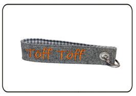 Schlüsselanhänger Wollfilz, hellgrau/orange