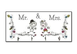 """Schlüsselbrett """"Mrs. & Mrs."""""""