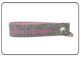 Schlüsselanhänger Wollfilz, hellgrau-rosa