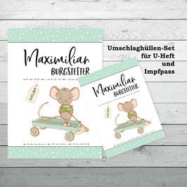 """Hüllen-Set für U-Heft und Impfpass """"Maus mit Bollerwagen"""""""