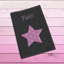 """U-Hefthülle """"Stern"""", rosa - dunkelgrau"""