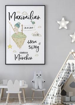 Geburtsanzeige Bär mit Angel für Jungs