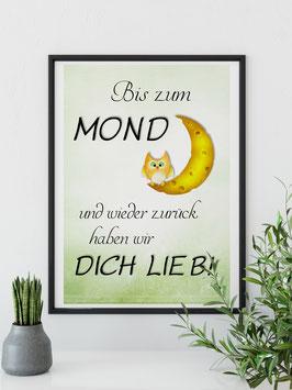 """Kunstdruck """"Bis zum Mond..."""""""