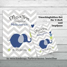 """Set """" Elefant"""" für U-Heft und Impfpass"""