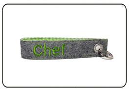 Schlüsselanhänger Wollfilz, hellgrau-hellgrün