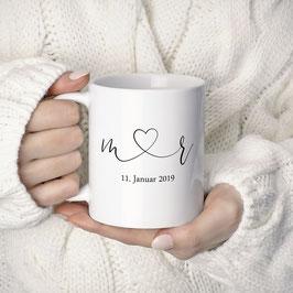 """Kaffeetasse """"Initialen mit Herz"""""""