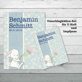 """Hüllen-Set für U-Heft und Impfpass """"Hase mit Blume"""""""