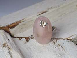 STERLING SILVER BUTTERFLY OR LADYBIRD- ROSE QUARTZ GEMSTONE RING