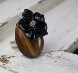 BLACK AGATE FLOWER & TIGER EYE & SWAROVSKI CRYSTAL GEMSTONE RING