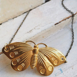 VINTAGE BRASS BUTTERFLY NECKLACE
