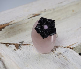 BLACK AGATE FLOWER SWAROVSKI - ROSER QUARTZ GEMSTONE RING