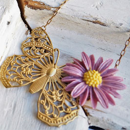 VINTAGE FILEGREE GOLD BRASS BUTTERFLY NECKLACE