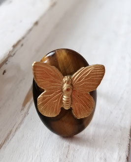 VINTAGE BRASS BUTTERFLY - TIGER EYE GEMSTONE RING - Item 086