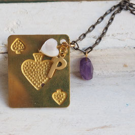 PLAYING CARD AMETHYST MOTHER OF PEARL HEART VINTAGE LETTER NECKLACE