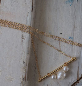 24K GOLD - FRESHWATER PEARL NECKLACE - Item 046