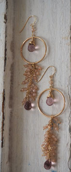 14K GOLD - KARMA, RHODOLITE & NATURAL PEACH MOONSTONE GEMSTONES DROP EARRING