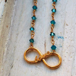 INFINTE LOVE TURQUOISE SWAROVSKI BEADS 14 CARAT NECKLACE