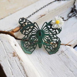 VINTAGE PATINA FILEGREE BUTTERFLY NECKLACE