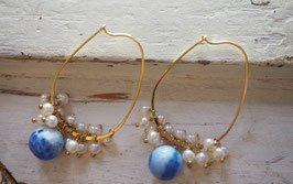 18 GOLD PLATED - BLUE LACE AGATE & FRESWATER PEARLS CHANDELIER EARRING