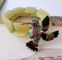 HUMMINGBIRD - JADE & RUSSIAN AMAZONITE GEMSTONE BRACELET - Item 074