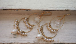 18K GOLD PLATED - CLEAR CRYSTAL QUARTZ & FRESHWATER PEARLS CHANDELIER EARRING