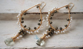 14K GOLD - GREEN AMETHYST, PYRITE & FRESHWATER PEARLS DANGLE CHANDELIER EARRING