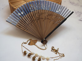 HAND FAN NECKLACE - VINTAGE BRASS BEADS  & MOTHER OF PEARL BLACK  GEMSTONE