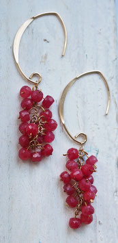 RED RUBY 14 CARAT GOLD EARRING