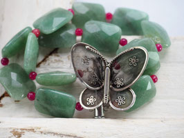 ONE OFF - VINTAGE STERLING SILVER BUTTERFLY BROOCH - GREEN AGATE RED AVENTURINE GEMSTONE BRACELET