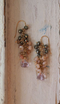 14K GOLD - NATURAL PINK OR GREEN AMETHYST, PYRITE & NATURAL OPAL DROP EARRING