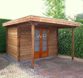 Blokhut plat dak met luifel 4572 x 3600 mm (BxD)