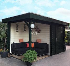 Blokhut plat dak met luifel 4572 x 2600 mm (BxD)