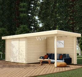 Blokhut plat dak met luifel - 6572 x 3100 mm (BxD)
