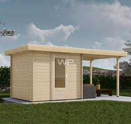 Blokhut plat dak met luifel 5556 x 3100 mm