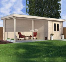 Blokhut plat dak met luifel - 8000 x 3000 mm