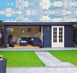 Blokhut plat dak met luifel  - 7072 x 3600 mm (BxD)