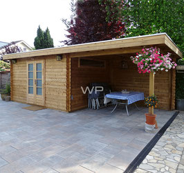 Blokhut plat dak met luifel - 7572 x 3600 mm (BxD)
