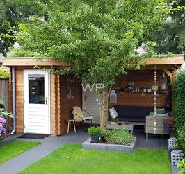 Blokhut plat dak met luifel + extra deur - 5572 x 3100 mm (BxD)
