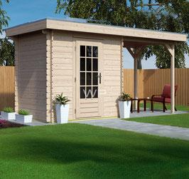 Blokhut plat dak met luifel 5572 x 2600 mm (BxD)