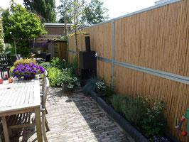 Bamboowall ®- tuinscherm met verzinkt stalen U-frame