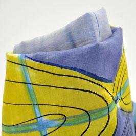 Snood bleu-mauve et jaune