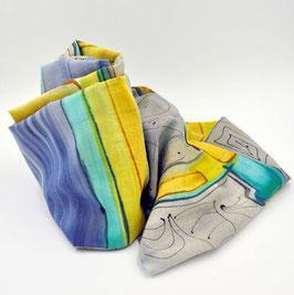 Snood gris, bleu et jaune