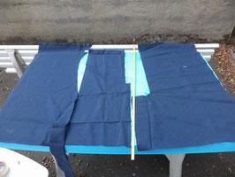 n°e433 tissu etoffe mercedes bleu