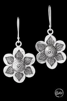 Boucles d'oreilles en argent fleur feuilles 73